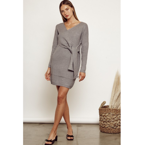 Staci Tie Front Sweater Dress-front