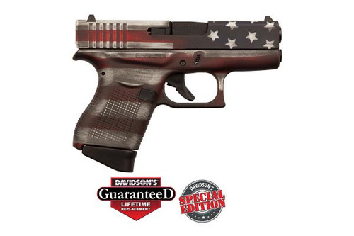 Glock 43 9MM Luger, 6+1, Fixed Sights, Cerakote Battleworn USA Flag , PI4350201CKFLAG