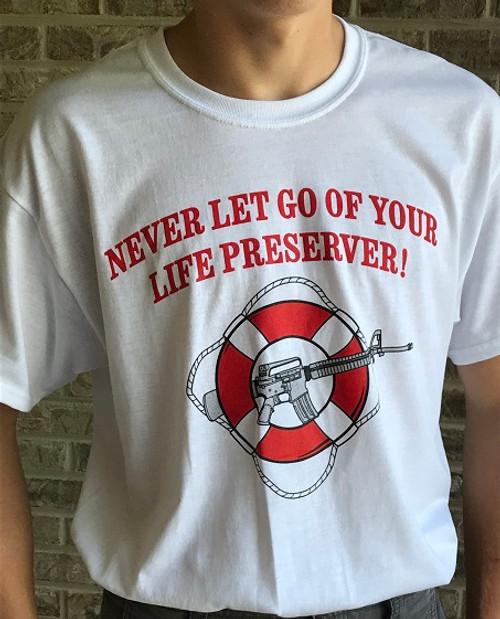 """AR-15 Life Preserver"" T-Shirt Front"