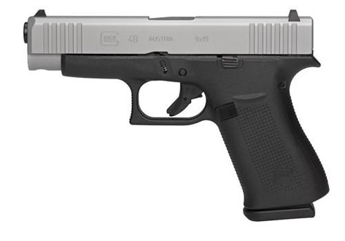 "Glock G48 Compact 9MM PA485SL201 10+1, 4.17"" Barrel, Silver, Fixed Sights"