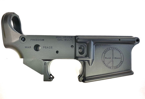 """BWA """"Peace Through Superior Firepower"""" Stripped Lower Receiver - right"""