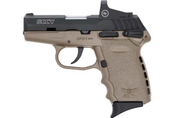 SCCY CPX-1CBDERD 9MM 10RD BLACK/FDE with Crimson Trace Red-Dot Scope