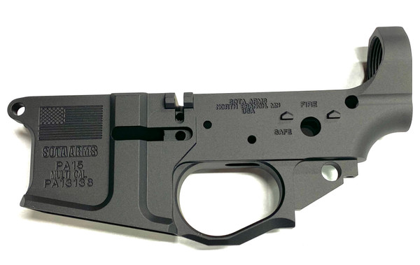 Sota Arms Patriot PA15 Billet AR-15 Stripped Lower Receiver featuring Patriot US Flag Logo - left