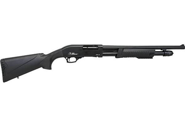 "Iver Johnson PAS12 Pump Shotgun 12GA. 3"", 5-Shot, 18"" Barrel, Blued Synthetic"