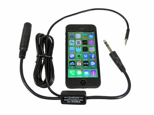 Cockpit Aircraft Audio Recording Cable for iPhone & Android