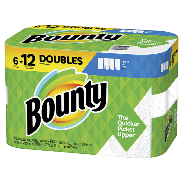 Janitorial and Cleaning Supplies,Disposable Paper,Paper Towel,BOUNTY,PGC75669,Bounty Select-A-Size Paper Towels White 6 Double Rolls