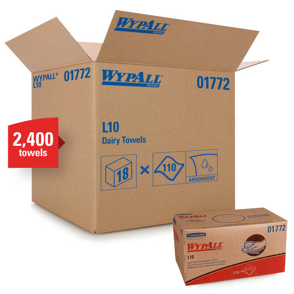 Janitorial and Cleaning Supplies,Disposable Paper,Wipes,WYPALL,KCC01772CS,Wypall L10 Dairy Towels 01772