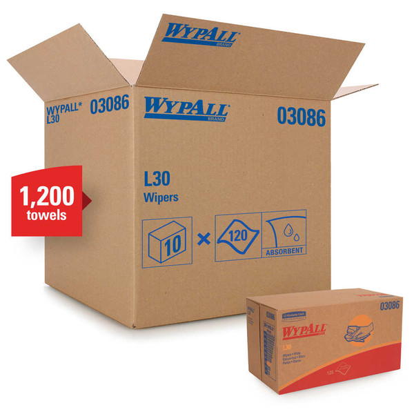 Janitorial and Cleaning Supplies,Disposable Paper,Wipes,WYPALL,KCC03086CS,Wypall L30 Towels 03086