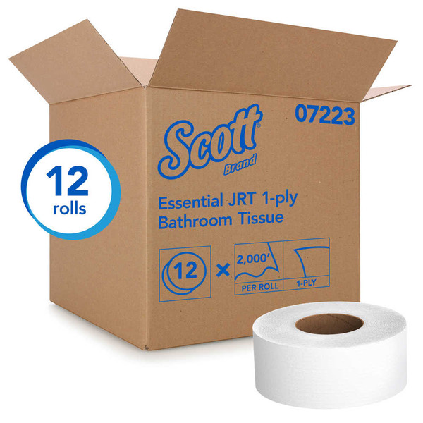 Janitorial and Cleaning Supplies,Disposable Paper,Toilet Paper,SCOTT,KCC07223CS,Scott Essential Jrt Bathroom Tissue 07223