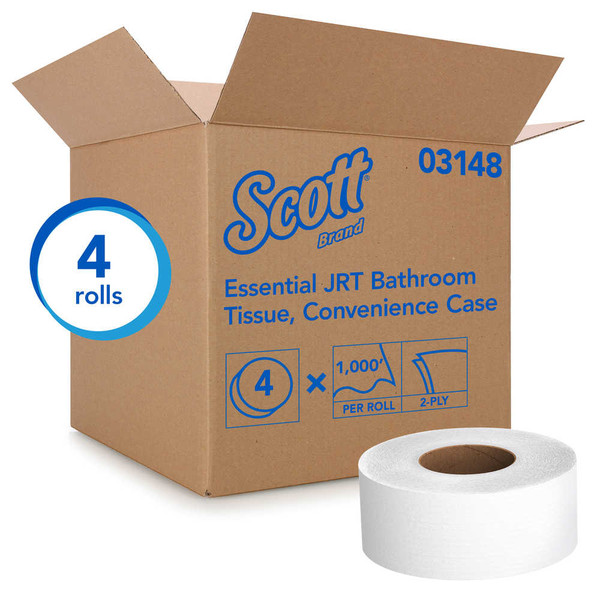 Janitorial and Cleaning Supplies,Disposable Paper,Toilet Paper,SCOTT,KCC03148CS,Scott Essential Jrt Jumbo Roll Bath Paper Tissue 03148