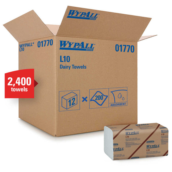 Janitorial and Cleaning Supplies,Disposable Paper,Wipes,WYPALL,KCC01770CS,Wypall L10 Dairy Towels 01770