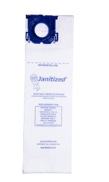 Bags and Parts,Bag and Filters,Paper Bags,WINDSOR,JAN-WISEN-3,Jan-Wisen-3(10) Janitized Paper Bag Windsor Sensor