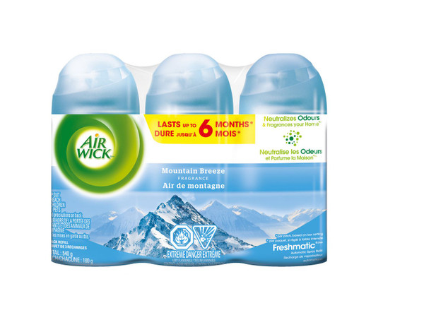 Deodorizers,AIRWICK,RAC85664,Airwick Freshmatic Refill 3Pk Mountain Breeze Rac85664