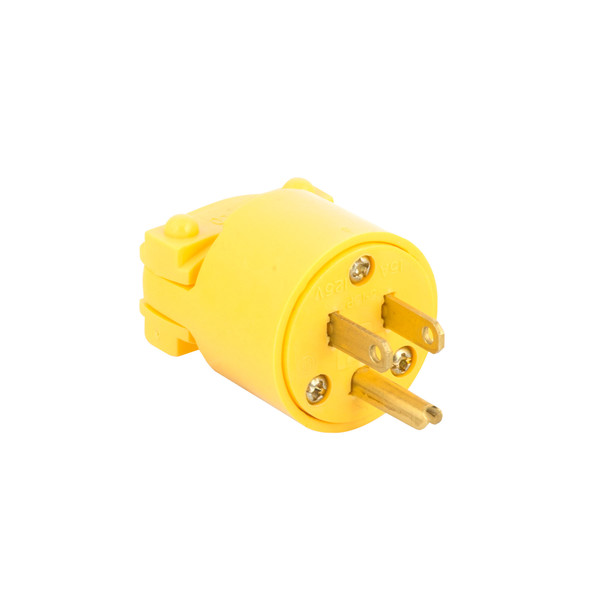 Bags and Parts, Parts and Accessories, Plugs - Receptacles,P901,P901,P901 Eagle Plug Male 3 Prong Yellow