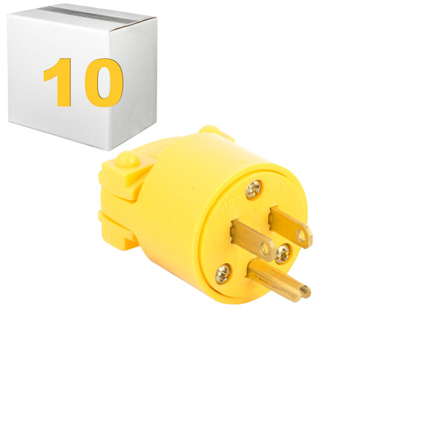 Bags and Parts, Parts and Accessories, Plugs - Receptacles,P901L-10,P901L-10,P901L-10 Eagle Plug Male 3 Prong Yellow