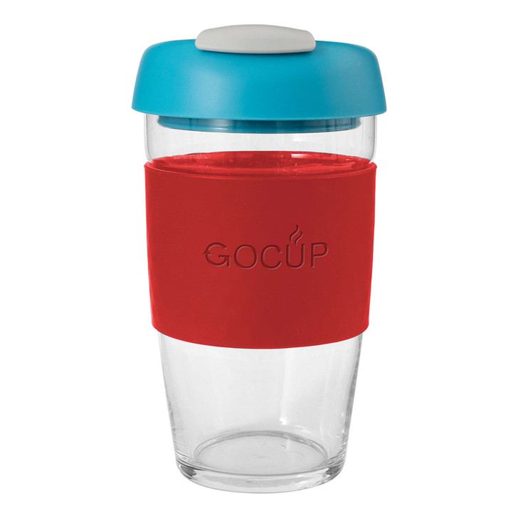 Glass Gocup - 473ml/16Oz - Red/Aqua/Grey