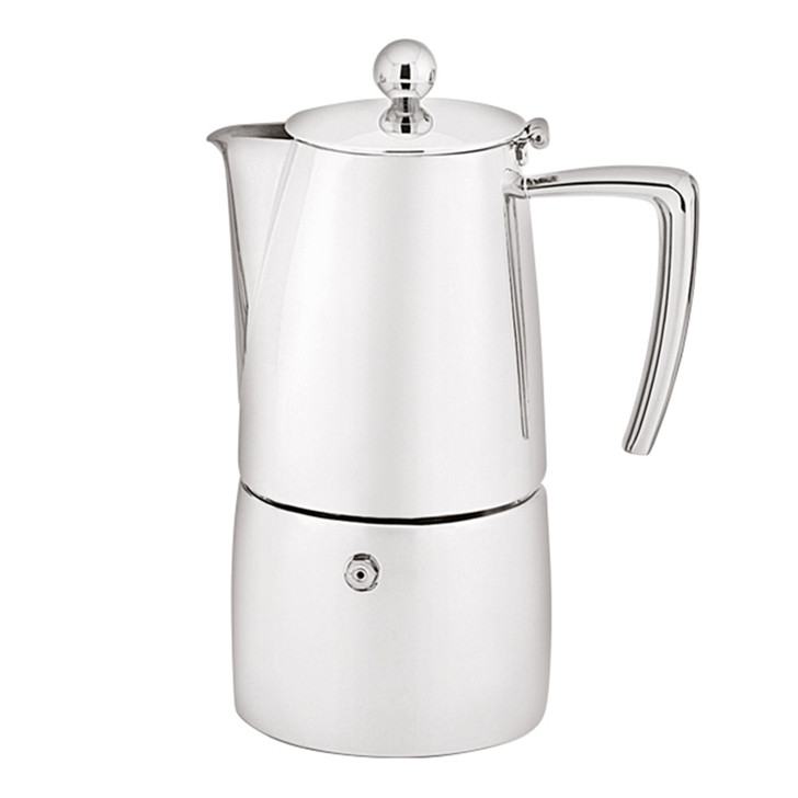 Art Deco Espresso Maker - 4 Cup / 200ml - Stainless Steel