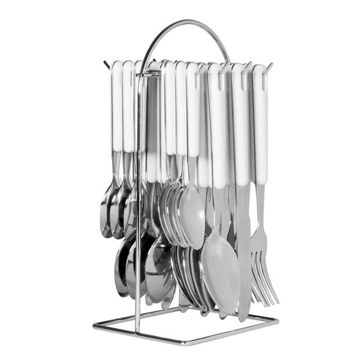 Hanging Cutlery With Wire Frame - White