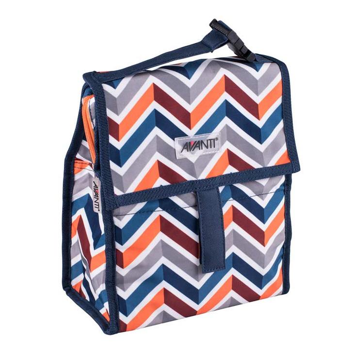 Yum Yum Lunch Cooler Bag With Gel Ice Brick- Chevron - 21.5 x 12 x 26cm - Navy Multi
