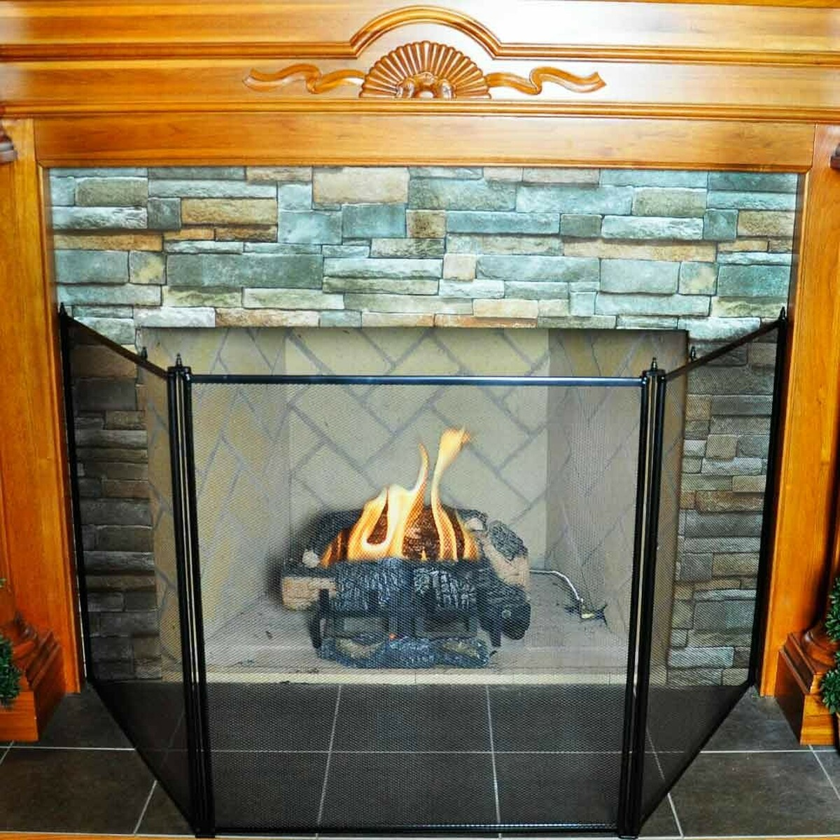 3 Fold Oversized Stove Fireplace Screen Black