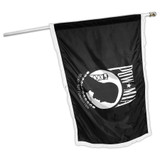 Indoor POW MIA Flag 3ft x 5ft Nylon - Double Sided - White Fringe