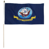 """Navy Flag 12"""" x 18"""" mounted on 24"""" wooden stick"""