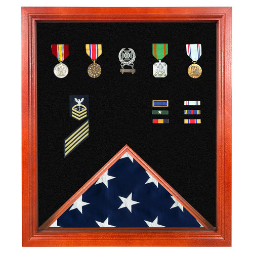 Cherry Medal and Flag Display Case