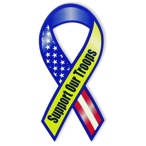 Support Our Troops Mini Magnet - red white and blue