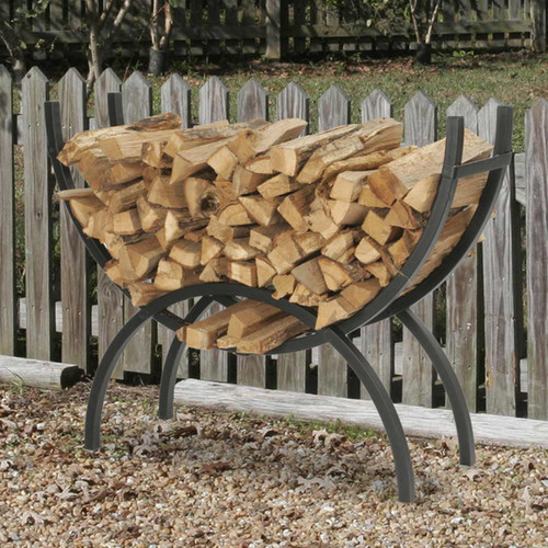 "HY-C 48"" Black Crescent Log Rack"