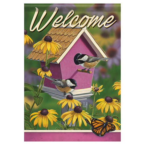 Bird Garden Flag - Chickadee House