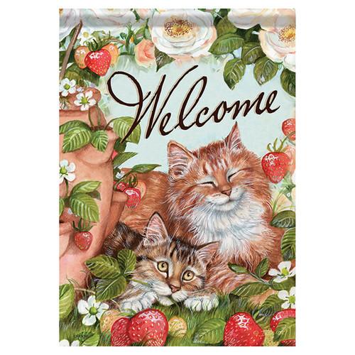 Animal Garden Flag - Strawberry Kitties