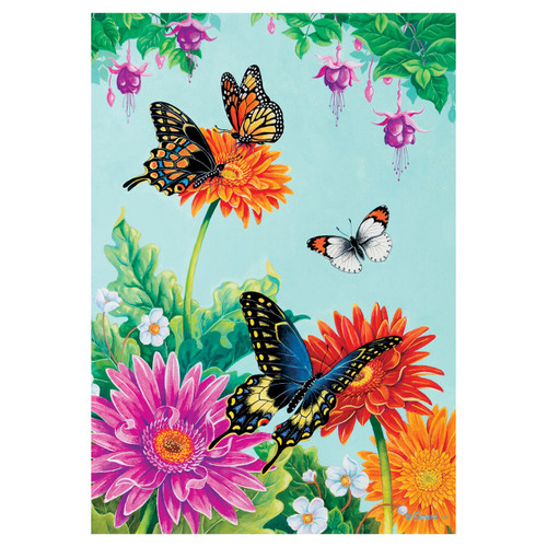 Spring Garden Flag - Butterfly Fuchsia