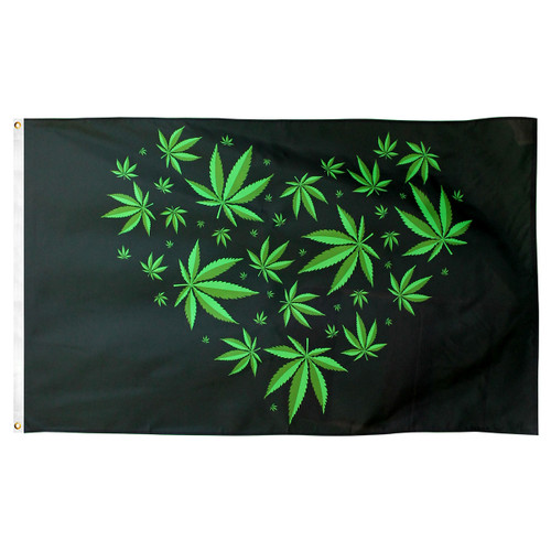 Marijuana Love Flag 3ft x 5ft Printed Polyester