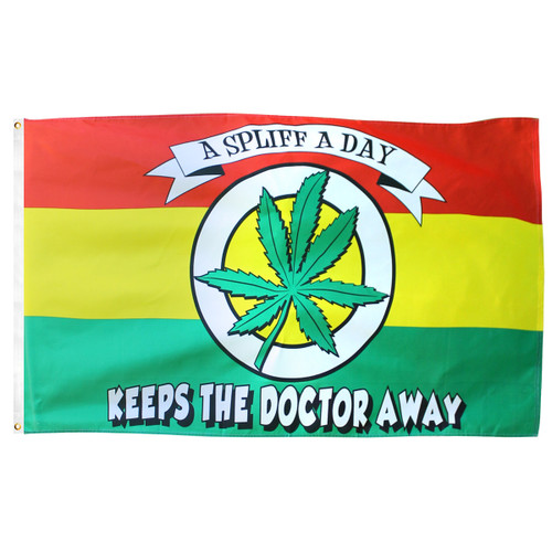 A Spliff A Day Marijuana Flag 3ft x 5ft Printed Polyester