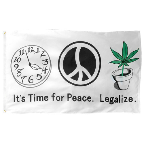 Time For Peace Marijuana Flag 3ft x 5ft Printed Polyester