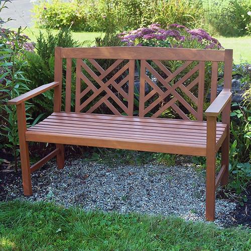 Natural Fretwork Bench