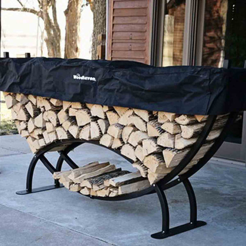 Woodhaven Large Crescent Firewood Rack with Cover
