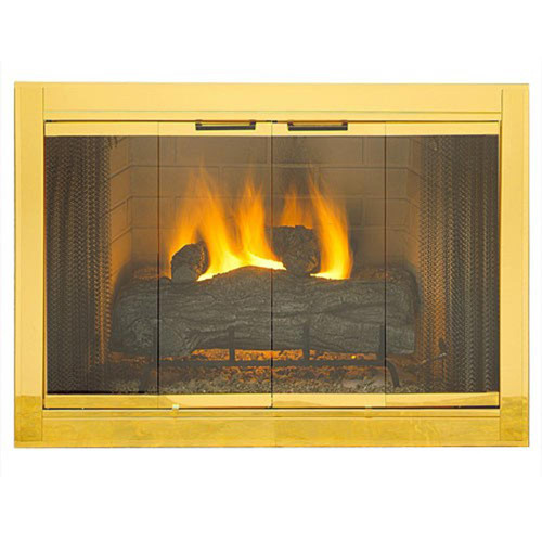 Polished Brass Plated Fireview Stock Masonry Fireplace Door