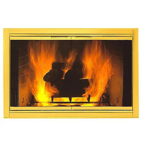 Polished Brass Solid Fireview Stock Masonry Fireplace Door