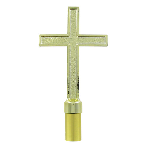 Metal Gold Passion Cross with Ferrule - 7.5in x 5in
