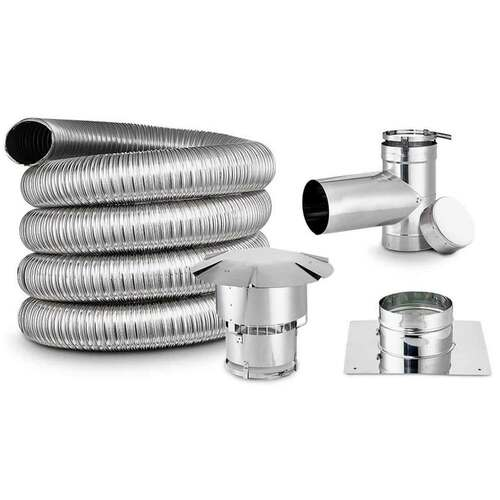 3'' x 35' DIY Chimney Smooth-Wall Liner Kit with Tee