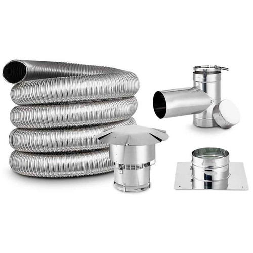 3'' x 25' DIY Chimney Single-Wall Liner Kit with Tee