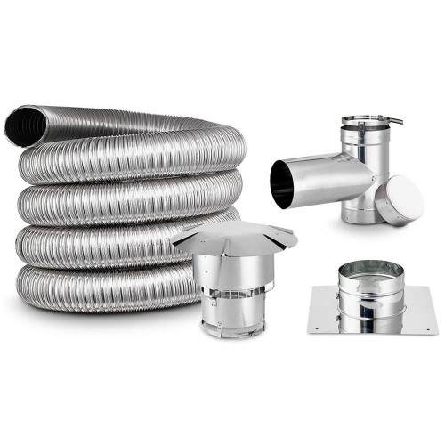 5'' x 25' Lifetime Chimney Single-Wall Liner Kit with Tee