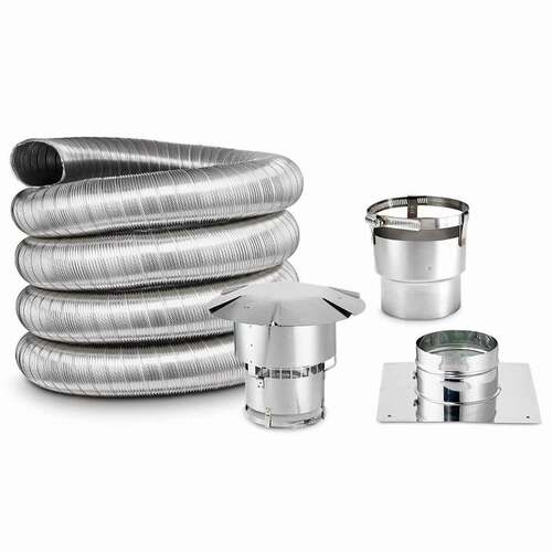 7'' x 35' DIY Chimney Single-Wall Liner Kit with Stove Adapter