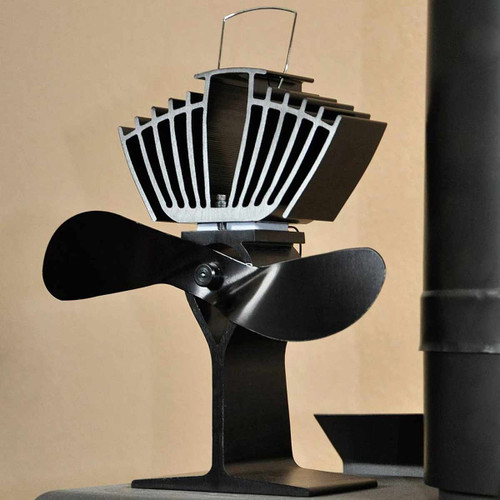 EcoFan AirMax Heat Powered Wood Stove Fan - Black Colored Blades