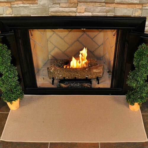 4' Rectangle Tan Guardian Fireplace Rug