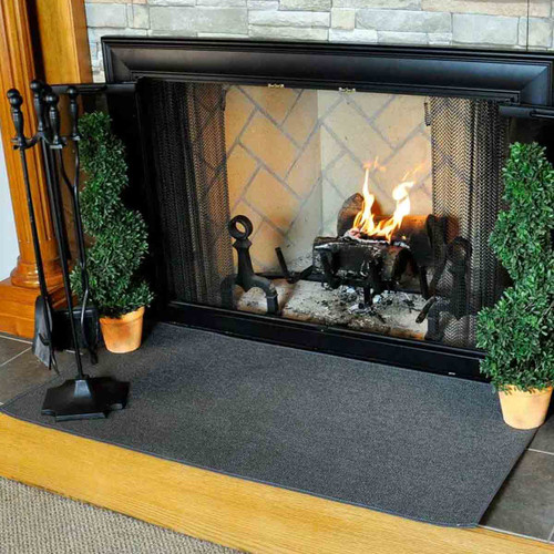 4' Rectangle Charcoal Guardian Fireplace Rug