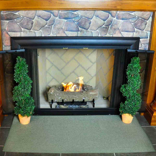 4' Rectangle Sage Green Guardian Fireplace Rug