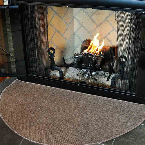 4' Half Round Brown Guardian Fireplace Rug