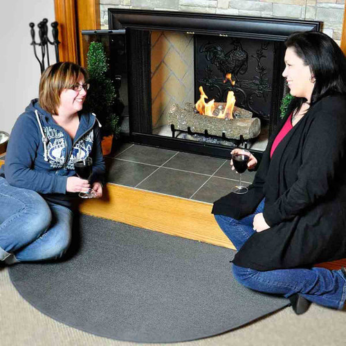 5' Half Round Charcoal Guardian Fireplace Rug